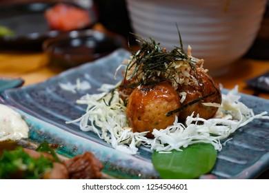 Fried Takoyaki Ball Dumplings, Takoyaki is Japanese octopus snack ball