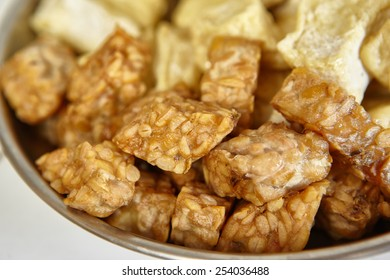 Fried tempeh, special fermented soya beans from Indonesia