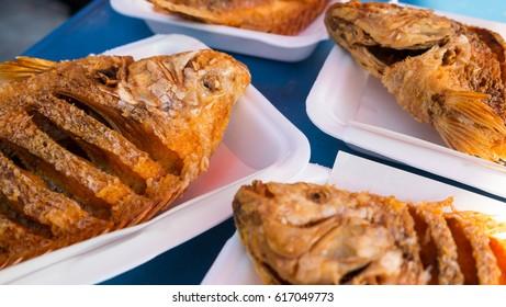 Fried tilapia in box, Fish fried