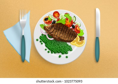 Fried tilapia with vegetable salad and garnish