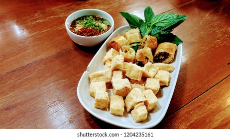 fried tofo and thai spring rolls