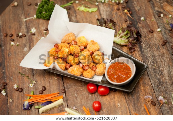 Fried Tofu with bacon,selective focus