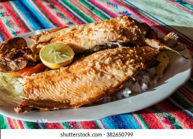 Fried trout in a restaurant in Copacabana town on Titicaca lake, Bolivia