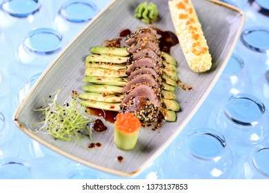 fried tuna fillet with avocado