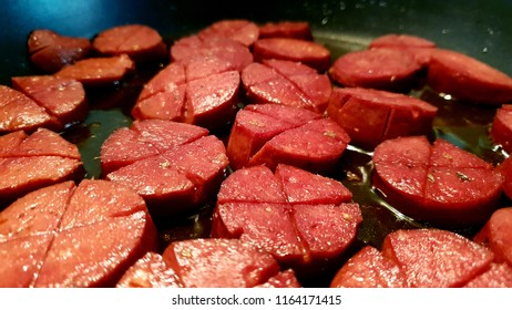 Fried Turkish Style Fermented Spicy Sausage called Sucuk in Turkey, it is for the fried spicy meat lovers