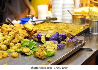 Fried vegetables at Hong Kong street food stall