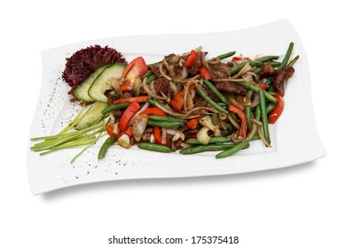 Fried vegetables, Pork, Chinese cuisine
