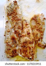 Fried zander fish fillets