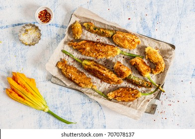Fried Zucchini Flowers Stuffed with Ricotta, Sprinkled with Lemon Salt and Chili Flakes