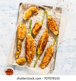Fried Zucchini Flowers Stuffed with Ricotta, Sprinkled with Lemon Salt and Chili Flakes, square