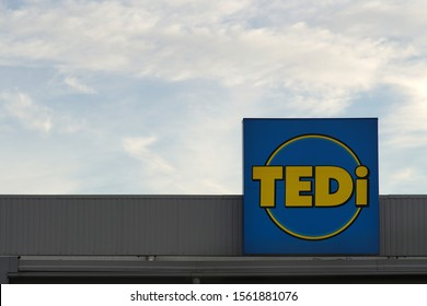 FRIEDBERG, GERMANY - OCTOBER 26: The modern facade and a street underpass of the Globus shopping center on October 26, 2019 in Friedberg.