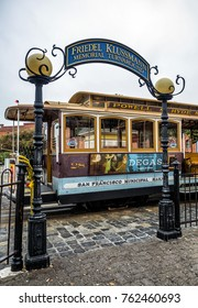 Friedel Klussmann Memorial Turnarounds, Historic Cable Car, Powell-Hyde line on the August 17th, 2017- San Francisco, California, CA, USA