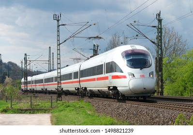 Friedland - Germany - April 29, 2016: Due to construction work on the high-speed line between Göttingen and Kassel, Deutsche Bahn ICE trains travel over the old north-south line.