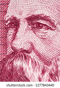 Friedrich Engels on East German 50 mark (1971) banknote closeup macro. Famous socialist philosopher, communist, social scientist, collaborator of Karl Marx in the foundation of modern communism.