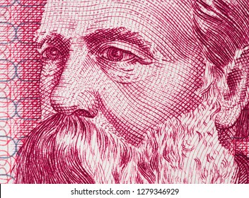 Friedrich Engels on East German 50 mark (1971) banknote closeup macro. Famous socialist philosopher, communist, social scientist, collaborator of Karl Marx in the foundation of communism.