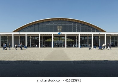 FRIEDRICHSAFEN, GERMANY - APRIL 20, 2016. Outside the exhibition center in Friedrichshafen airport in Germany