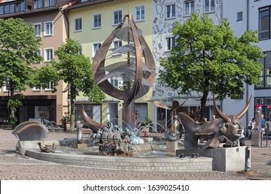 FRIEDRICHSHAFEN, GERMANY - MAY 18, 2018: Buchhorn Fountain by Gernot Rumpf. It was inaugurated in 2001 to commemorate the founding of Friedrichshafen in 1811 from the former imperial city of Buchhorn.