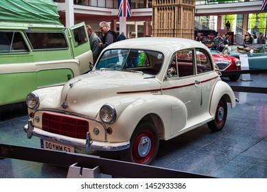 FRIEDRICHSHAFEN - MAY 2019: beige MORRIS MINOR SERIE II 1953 at Motorworld Classics Bodensee on May 11, 2019 in Friedrichshafen, Germany.