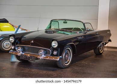 FRIEDRICHSHAFEN - MAY 2019: black FORD THUNDERBIRD T-BIRD 1955 cabrio at Motorworld Classics Bodensee on May 11, 2019 in Friedrichshafen, Germany.