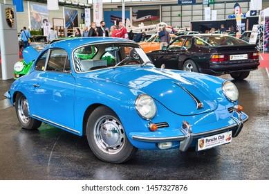 FRIEDRICHSHAFEN - MAY 2019: blue PORSCHE 356 1948 coupe at Motorworld Classics Bodensee on May 11, 2019 in Friedrichshafen, Germany.
