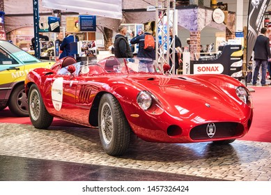 FRIEDRICHSHAFEN - MAY 2019: red MASERATI MISTRAL 300S TRIBUTE R 1966 cabrio roadster at Motorworld Classics Bodensee on May 11, 2019 in Friedrichshafen, Germany.