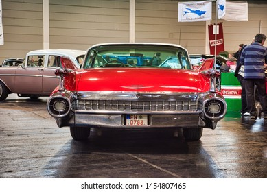 FRIEDRICHSHAFEN - MAY 2019: white red CADILLAC DE VILLE 1959 coupe at Motorworld Classics Bodensee on May 11, 2019 in Friedrichshafen, Germany.