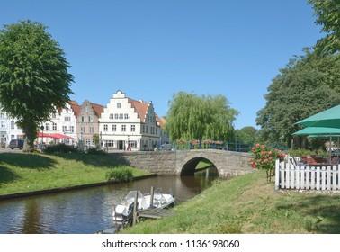 Friedrichstadt at Treene River in North Frisia,Schleswig-Holstein,Germany