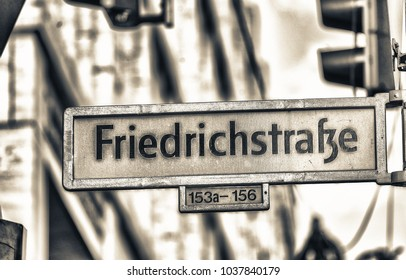 Friedrichstrasse street sign in Berlin. This is a famous shopping street.