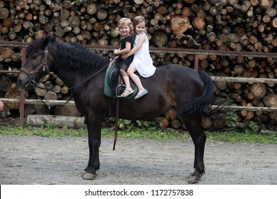 Friend, companion, friendship. Girls ride on horse on summer day. Equine therapy, recreation concept. Children smile in rider saddle on animal back. Sport, activity, entertainment. riding school