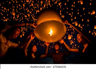 Friend group enjoy New Year and yeepeng festival togather in Thailand, Yee peng is balloon and fire and very faver to play in asia such as Thailand, China and Taiwan