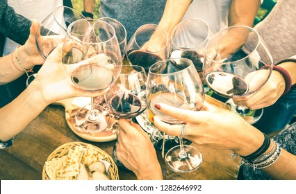 Friend hands toasting red wine while having fun outside cheering with winetasting - Young people enjoying  drinks on harvest time together at farmhouse vineyard countryside - Youth friendship concept