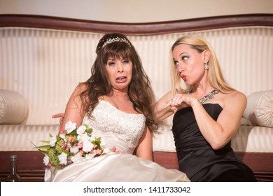 Friend scolding bride at a wedding