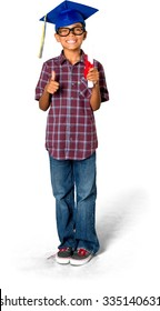 Friendly African American young boy with short black hair in casual outfit holding diploma - Isolated
