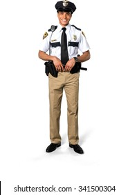 Friendly African young man with short black hair in uniform - Isolated