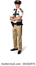 Friendly African young man with short black hair in uniform with arms folded - Isolated