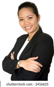 friendly asian business woman over a white background