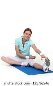 friendly blonde doing stretching exercises
