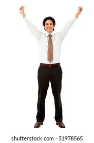 Friendly business man smiling isolated over a white background