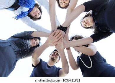 friendly business team .the concept of teamwork
