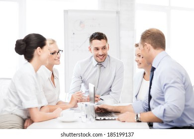 friendly business team having meeting in office