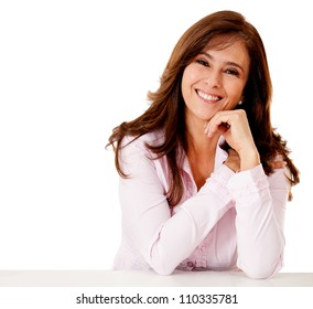 Friendly business woman smiling - isolated over a white backgorund
