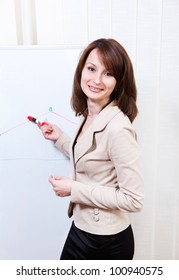 Friendly businesswoman writing on a whiteboard