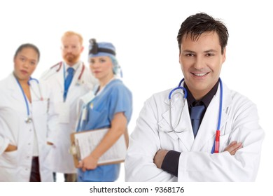 Friendly  caring team of medical doctors, surgeons, healthcare professionals.