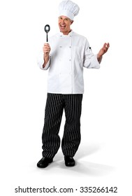 Friendly Caucasian Chef in uniform holding scoop - Isolated