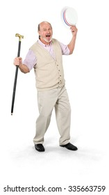 Friendly Caucasian elderly man with short grey hair in casual outfit holding hat - Isolated