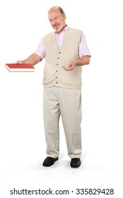 Friendly Caucasian elderly man with short grey hair in casual outfit holding book - Isolated