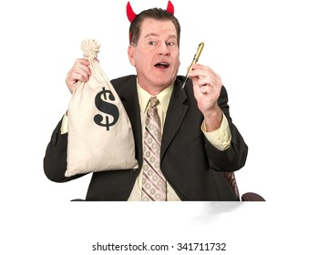 Friendly Caucasian elderly man with short medium brown hair in business formal outfit holding devil horns - Isolated