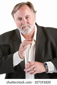 Friendly caucasian man gestures with his hands over white background