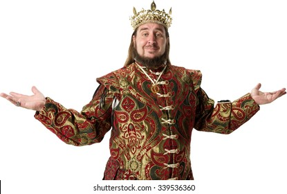 Friendly Caucasian man with long dark brown hair in costume with arms open - Isolated