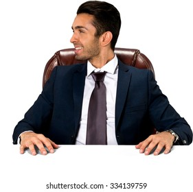 Friendly Caucasian man with short dark brown hair in business formal outfit - Isolated
